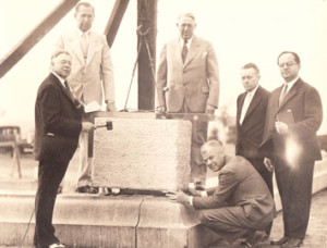 Laying the office cornerstone